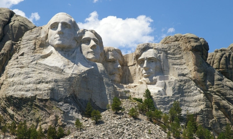 The Mount Rushmore National Memorial in South Dakota features representations of U.S. presidents. From the left, George Washington, Thomas Jefferson, Theodore Roosevelt and Abraham Lincoln. (AP Images)
